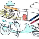 Boating Printable Coloring Page for Kids: Dolphin Swim