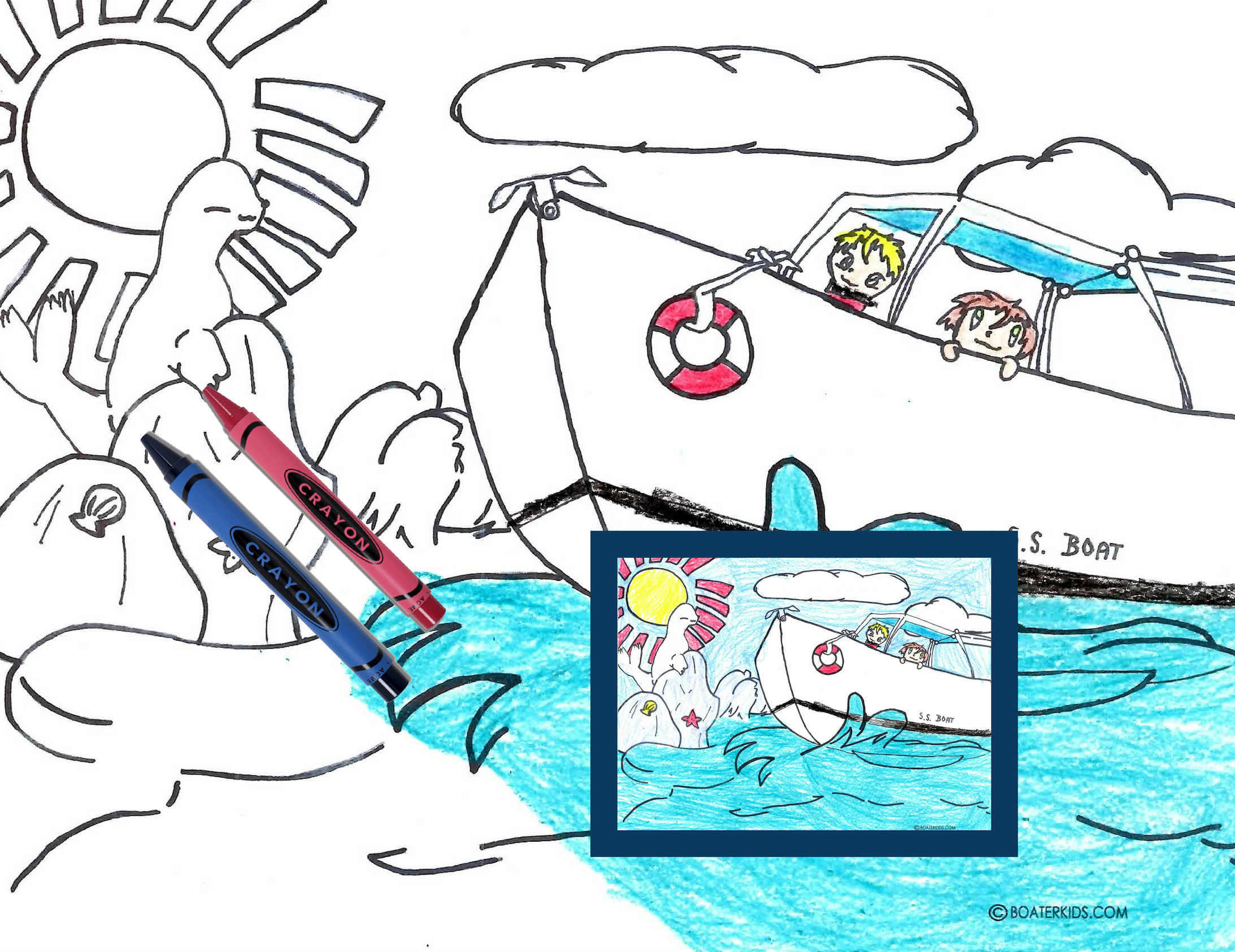 Splashing water boating coloring page for kids